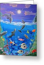 Whimsical Original Painting Undersea World Tropical Sea Life Art By Madart Greeting Card by Megan Duncanson