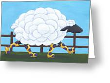 Whimsical Sheep Art Greeting Card by Christy Beckwith