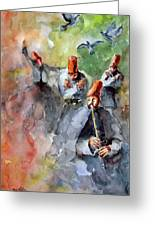Whirling Dervishes And Pigeons Greeting Card by Faruk Koksal