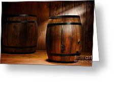 Whisky Barrel Greeting Card by Olivier Le Queinec