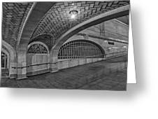 Whispering Gallery Bw Greeting Card by Susan Candelario