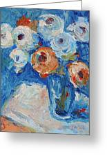 White And Orange Roses In A Sea Of Blue Greeting Card by Thomas Bertram POOLE