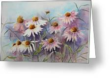 White And Pink Coneflowers Greeting Card by Patsy Sharpe