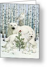 White Animals Red Bird Greeting Card by Lynn Bywaters