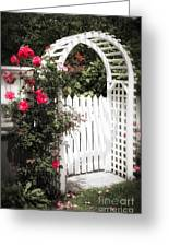 White Arbor With Red Roses Greeting Card by Elena Elisseeva
