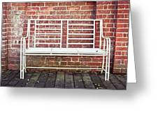 White Bench Greeting Card by Tom Gowanlock