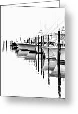 White Boats II - Outer Banks Bw Greeting Card by Dan Carmichael