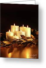 White Candles With Gold Leaf Garland Greeting Card by Sandra Cunningham