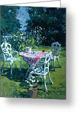 White Chairs At Belchester Greeting Card by Susan Ryder