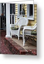 White Chairs Greeting Card by John Rizzuto