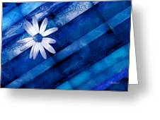 White Daisy On Blue Two Greeting Card by Ann Powell