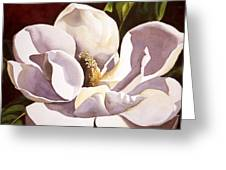White Magnolia With Red Greeting Card by Alfred Ng