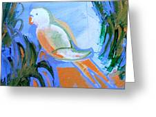 White Parakeet Greeting Card by Genevieve Esson