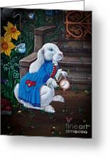 White Rabbit Black Greeting Card by Kyra Wilson