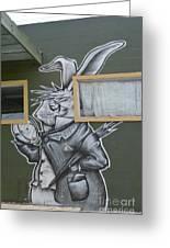 White Rabbit Greeting Card by Lne Kirkes