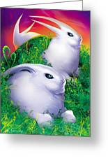 White Rabbits Greeting Card by Robert Conway