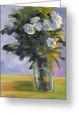 White Roses Greeting Card by Nancy Merkle