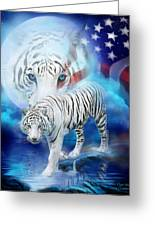 White Tiger Moon - Patriotic Greeting Card by Carol Cavalaris