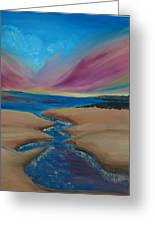 Wild Dune - Original Oil Painting Modern Landscape  Greeting Card by Julia Veselskaya