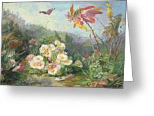 Wild Flowers And Butterfly Greeting Card by Jean Marie Reignier