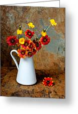 Wild Flowers In A White Pitcher On A Slate Background Greeting Card by Kim M Smith