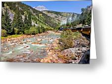 Wild West Train Ride Along The Animas River From Durango To Silverton Colorado Greeting Card by Karen Stephenson