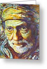 Willie Nelson-funny How Time Slips Away Greeting Card by Joshua Morton