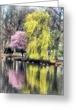 Willow And Cherry By Lake Greeting Card by Susan Savad