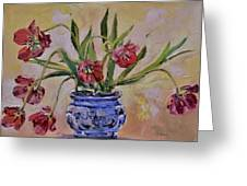 Wilting Tulips Greeting Card by Donna Tuten