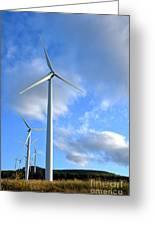 Wind Turbine Farm Greeting Card by Olivier Le Queinec