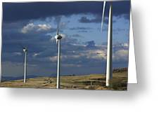 Wind Turbines. Region Auvergne. France Greeting Card by Bernard Jaubert