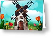 Windmill Path Greeting Card by Bedros Awak