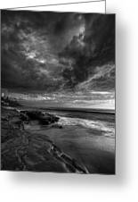 Windnsea Stormy Sky Bw Greeting Card by Peter Tellone