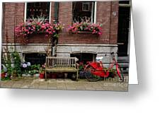 Window Box Bicycle And Bench Greeting Card by Thomas Marchessault