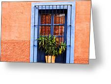 Window In San Miguel De Allende Mexico Square Greeting Card by Carol Leigh