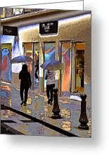 Window Shopping In The Rain Greeting Card by Ben and Raisa Gertsberg