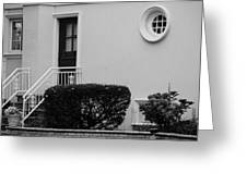 Windows In The Round In Black And White Greeting Card by Rob Hans