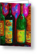 Wine Bottle Quartet On A Blue Patched Wall Greeting Card by Eloise Schneider