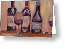 Wine Bottle Trio Greeting Card by Donna Tuten
