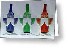Wine Bottles and Glasses Illusion Greeting Card by Jack Schultz
