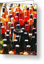 Wine Bottles In Cases Painting Greeting Card by Magomed Magomedagaev