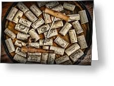 Wine Corks On A Wooden Barrel Greeting Card by Paul Ward