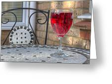 Wine Glass On Table Al Fresco Greeting Card by Fizzy Image