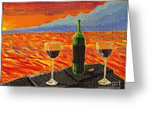 Wine On Sunset Terrace Greeting Card by Vicki Maheu