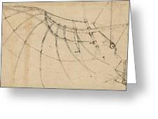 Wing Covered With Cloth And Moved By Means Of Crank Winch Below Right Detail Of Winch Greeting Card by Leonardo Da Vinci