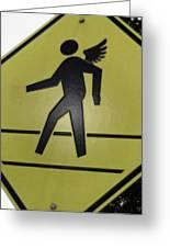 Winged Pedestrian Greeting Card by Bill Owen