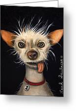 Winner Of The Ugly Dog Contest 2011 Greeting Card by Leah Saulnier The Painting Maniac