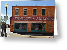 Winslow Arizona On Route 66 Greeting Card by Christine Till