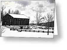 Winter Barn Greeting Card by Steve Harrington