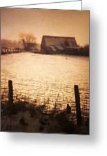 Winter Barn Greeting Card by Wim Lanclus